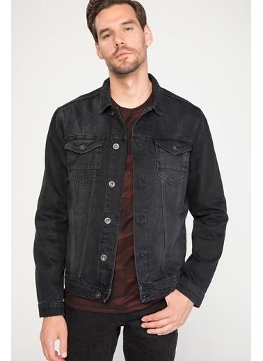 DeFacto Kuru Kafa Payet İşlemeli Denim Ceket Siyah